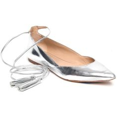 Silver Penelope Flats ❤ liked on Polyvore featuring shoes, flats, silver flats, pointed-toe ankle-strap flats, flat pumps, silver pointed toe flats and silver flat shoes