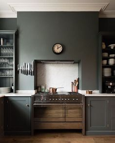 Downpipe - Loving the walls and units in the same colour in this #devol #kitchen #farrowandball #interiordesign #interiir #decor