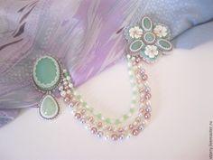 Купить Многорядные цветочные бусы (варианты) - мятный, нежно-розовый, нежно-зеленый, розовый, сиреневый