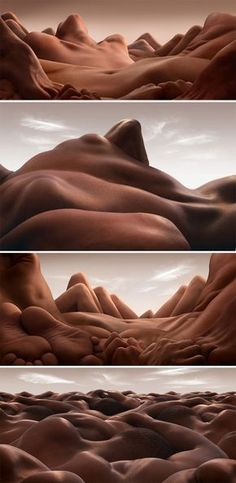 Bodyscapes by Carl Warner | Art and Design News. Mountains and desert valleys created with human bodies. Texture, shadows, lights.