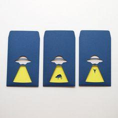 切り絵・抜き絵のぽち袋「UFO」