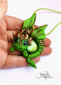 Cute green dragon - polymer clay medal / pendant