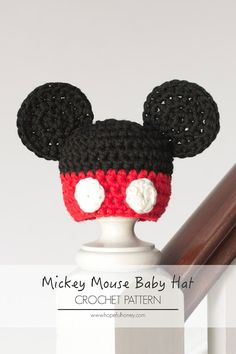 Newborn Mickey Mouse Inspired Hat - Free Crochet Pattern