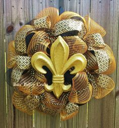 Fleur De Lis Wreath, Black and Gold Wreath by BatsBelfryCrafts on Etsy