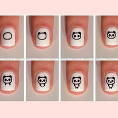 Step-by-step nail art Panda
