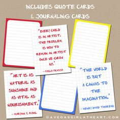 Printable Children's Art Journal Cards by perfectloop on Etsy