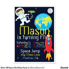 Blast Off Space Birthday Party Card