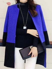 chic double color slim trench coat