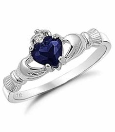 Blue Sapphire Heart CZ Claddagh Ring!! In a nutshell the meaning of the Claddagh ring could be summarized as, Let Love and Friendhsip Reign Forever!!!