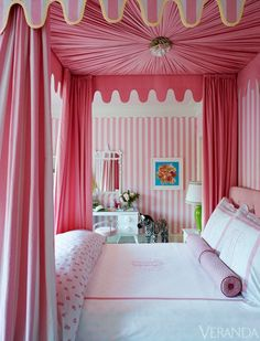 Girls Bedroom/Ruthie Sommers Veranda Magazine - (This reminds me of one of my niece's bedrooms. {sm} design interior design home design Girls Bedroom, Pink Bedrooms, Bedroom Decor, White Bedroom, Dream Bedroom, 6 Year Old Girl Bedroom, Preppy Bedroom, Bedroom Ideas, White Canopy