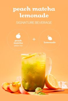 Pick up our limited edition Matcha Peach Lemonade Signature Beverage in stores from June to July or use this quick and easy recipe below to make it at home. Smoothie Au Matcha, Matcha Drink, Juice Smoothie, Smoothie Drinks, Smoothies, Matcha Coffee Recipe, Matcha Lemonade Recipe, Davids Tea, Iced Tea Recipes