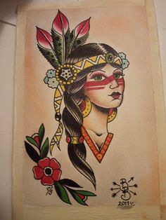 Traditional Native American Girl Tattoo Design