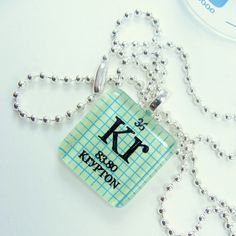Krypton Glass Periodic Table Tile Necklace  Light by ShopGibberish, $10.00