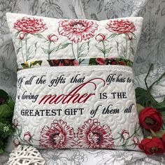 """""""Mother's Day Poppies Set"""" This generous design set includes 60 designs, ranging in size from to inches, and includes quotes in English, Afrikaans and French to create lovely, heart warming gifts for Mom on Mother's Day and year round too! Border Embroidery, Learn Embroidery, Machine Embroidery Patterns, Embroidery Fonts, Book Pillow, Reading Pillow, Pillow Cases, Stitch Delight, Embroidery Services"""