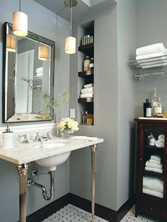 Chuck and I have been talking about painting our master bathroom.... How do you feel about GRAY and BLUE!