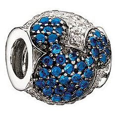 Jeweled Mickey Blue and Clear Cubic Zirconia