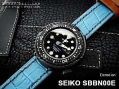 Matte Sky Blue CrocoCalf watch band fits on SEIKO TUNA SBBN00E