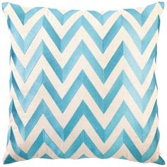 DL Rhein Zig Zag Turquoise Embroidered Pillow  As seen in @Glamour December 2011