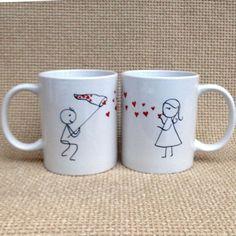 Két összeillő bögre, ahol a két fél adja ki az egészet. Ahogy egy igazi szerelmespár :-) #szerelem #szív #valentin