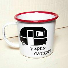 Happy Camper mug - enamel mug - coffee cup - camper - glamper - camping - retro camper - enamelware - tin cup - adventure - campfire mug