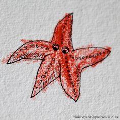 Starfish - drawn by mother and coloured by a five-year-old child; Meritähti, jonka äiti piirsi ja viisivuotias lapsi väritti