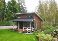 Hut House, Tiny House Cabin, Small House Plans, House Roof, Modern Bungalow House, Modern Tiny House, Backyard Office, Backyard Sheds, Wooden House Design