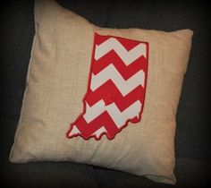 Did you leave your heart in Bloomington when you graduated from IU? Are you a parent of a Hoosier? Are you an Indiana Co-ed who needs some adorable dorm decor? Then this is the pillow for you!Available in 3 sizes (12x12, 16x16, or 18x18).Other suggestions for this or similar pillows:-Place a heart over the city you were married and give it to your significant other for an anniversary gift.-If you and your significant other are from different cities/states, order two pillows that represent…
