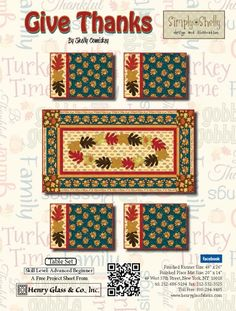 Give Thanks- Table Set Pattern by Shelly Comiskey of Simply Shelly Designs