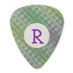 Personalized monogram guitar pick Colorful zigzag pattern #zazzle #guitar #music