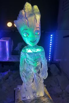 Baby Groot Marvel Comics Character tall Ice Sculpture Created by Ice Creations UK #