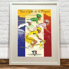 Tour De France Jerseys Art Print  Wyatt 9 by wyatt9dotcom on Etsy