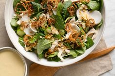 Asian Chicken Salad with Creamy Mustard-Miso Dressing