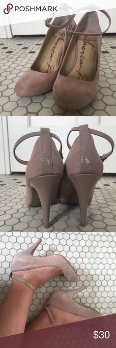 American rag cie heels with strap size 8.5 Suede finish soft lavender color 3 inch heel (I believe) great condition American Rag Shoes Heels