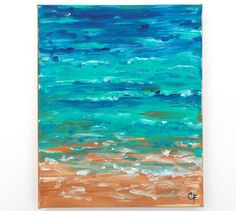 Beach painting abstract ocean painting 8x10. by TheEscapeArtist, $45.00