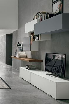 Modern Wall Unit by Tomasella, Italy Living Room Wall Units, Living Room Tv Unit Designs, Tv Unit Decor, Tv Wall Decor, Home Room Design, Home Interior Design, House Design, Modern Wall Units, Muebles Living