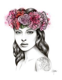 The tattooed flowergirl by Hélène Cayre