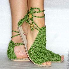 Купить Сандалии  вязаные Beauty, зеленый, хлопок, р.36 - балетки, босоножки, бохо, зеленый