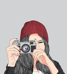 Lovely girl,girl holding a film camera. Pop Art Wallpaper, Cute Girl Wallpaper, Cute Wallpaper Backgrounds, Panda Wallpapers, Cute Wallpapers, Girly Drawings, Art Drawings, Girl Cartoon, Cartoon Art