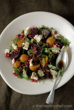 Beetroot Salad With Pomegranate + Pistachio - note pomegranate mollasses are high fructose