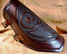 Hardened Leather Vambrace with Triskele and Chevrons - SCA/Dagorhir/Larp/Celtic