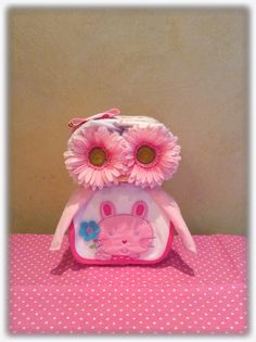 Pink Owl Diaper Cake, Owl Baby Shower, Diaper animal, Diaper Cake
