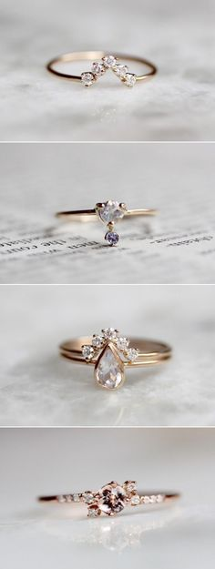 Diamond Wedding Rings : 34 Gorgeous Alternative Engagement Rings You'll Want To Say Yes To! - Buy Me Diamond Ring Set, Ring Verlobung, Jewelry Rings, Jewelry Accessories, Fine Jewelry, Jewlery, Trendy Accessories, Simple Jewelry, Jewelry Ideas