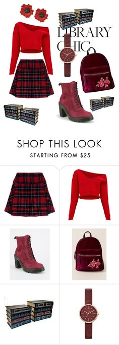 """Red and Burgundy"" by rock-my-hillbilly ❤ liked on Polyvore featuring Pinko, Dr. Martens, Francesca's, Skagen, Kate Spade and librarychic"