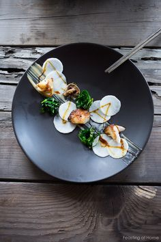 White Miso Black Cod - buttery black cod in a delicious miso marinade with with pickled daikon, kale nests and miso aioli. Cod Recipes, Seafood Recipes, Gourmet Recipes, Gourmet Desserts, Plated Desserts, Vegetarian Recipes, Sushi Recipes, Gourmet Foods, Pasta Recipes