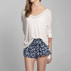 cream pullover & floral drapey shorts/pants <3