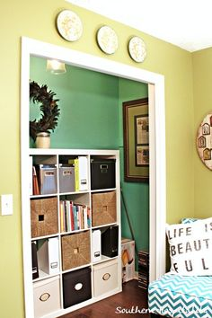 Great use for an office closet! Love this.  Ikea Expedit @SouthernRhoda