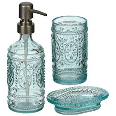 Antique Blue Embossed Glass 3-pc. Bath Set ($10) ❤ liked on Polyvore featuring home, bed & bath, bath, bath accessories, glass soap dish, blue tumbler, blue glass soap dispenser, glass lotion dispenser and blue glass bathroom accessories