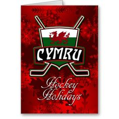 Wales Welsh Flag Ice Hockey Christmas Card.  Custom made #hockey Christmas card. Check my store: http://www.zazzle.com/gamefacegear*/  for many more seasonal products. #ChristmasCards