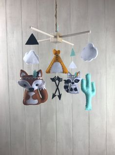 Baby mobile tribal mobile tribal nursery decor fox
