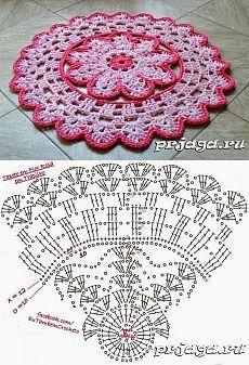 Розовый коврик крючком